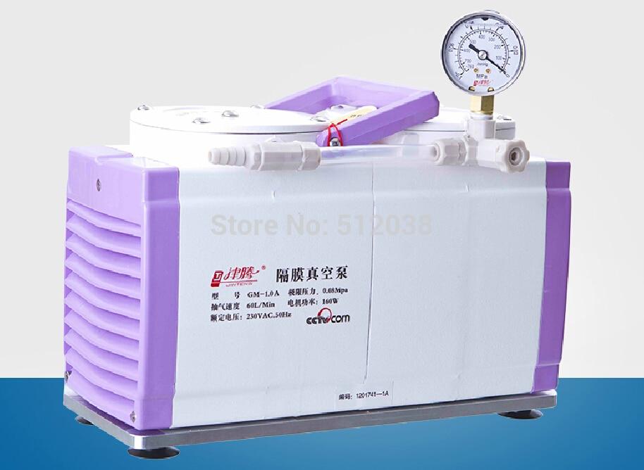 New XM-1.00 Diaphragm Vacuum Pump Oil Free Dual Head 60 L/min 110V / 220V
