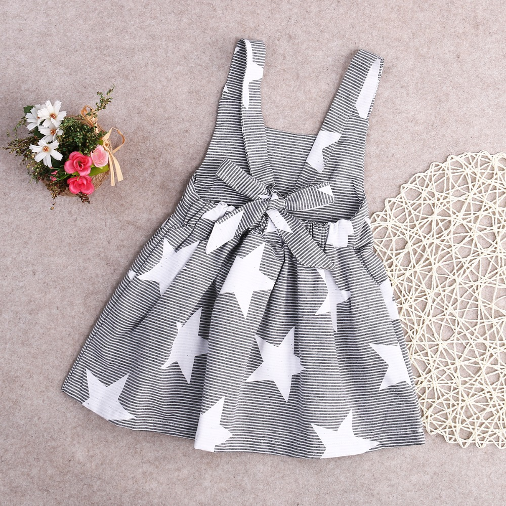 2017 3 -7Year  Star Print Fancy Toddler Newborn Baby Kids Girls Striped Dress Party Pageant Dresses Girl Five-pointed Star Dress