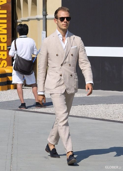 Latest Coat Pant Designs Beige Linen Suits Double Breasted