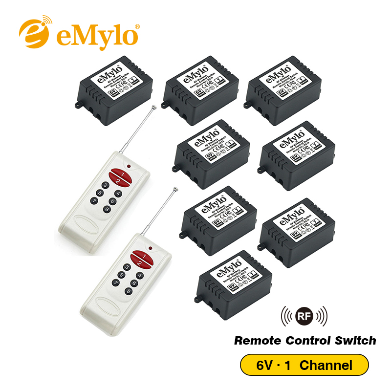 eMylo DC5V 6V RF Remote Control Switch ,Smart Switch ,Wireless Switch Light Switch 433Mhz White Transmitter 8pcs 1Channel Relays emylo 4x 220v 1000w 1channel 433mhz wireless rf realy remote control switch receiver with transmitter