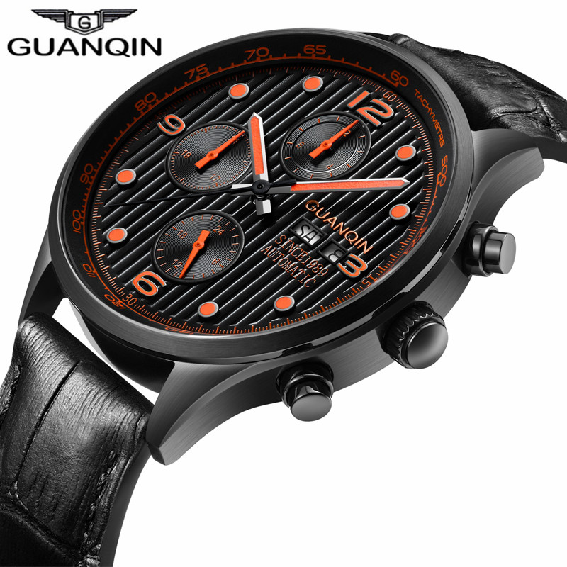 GUANQIN Luxury Brand Classic Men Business Watch Mechanical Automatic Waterproof Date Luminous Clock Casual Leather relojes hombr forsining date display automatic mechanical watch men business leather band watches modern gift dress classic analog clock box