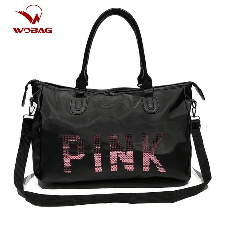 Wobag Ladies Black Travel Bag Fashion Pink Sequins Shoulder Bag Women Handbag Ladies Weekend Portable Duffel Waterproof Wash Bag