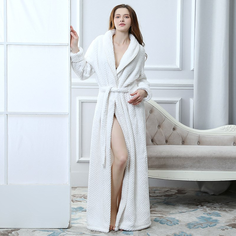 Smeiling Mens Bathrobe Flannel Long Sleeve Solid Color Elong Thick Sleep Robes