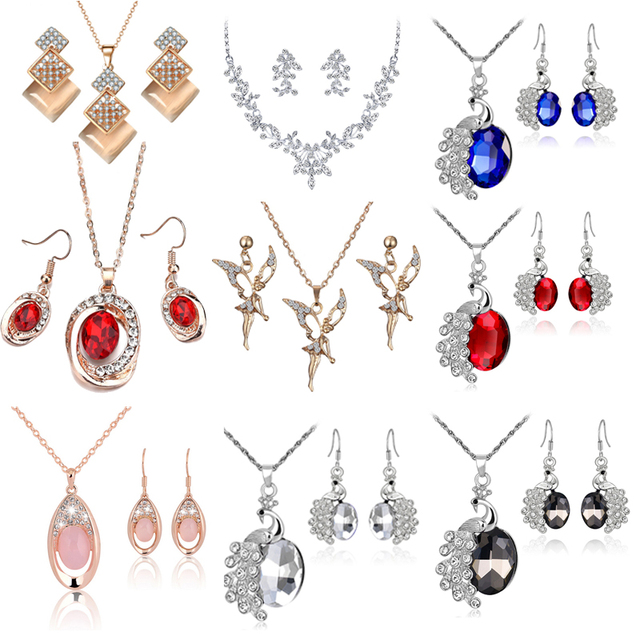 Crystal Classic Hollow Water Drop  Style Drop Necklace Earrings Set Bridal Bridesmaid Wedding Jewelry Sets