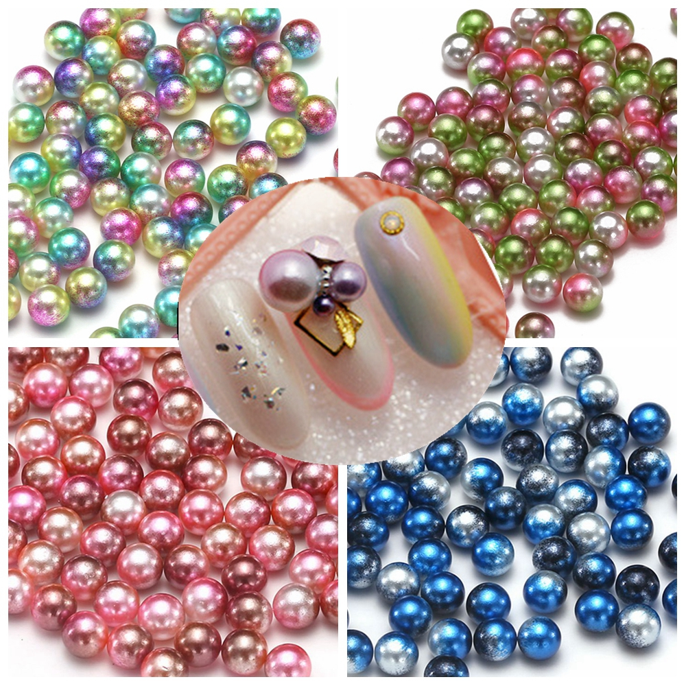 Small Pack 3mm 4mm 5mm 6mm RainBow Color No Hole Round Resin Imitation Pearls Bags Shoes Nail DIY Decorations Hair Accessories