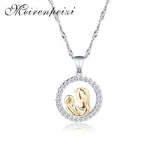 Meirenpeizi Trendy Fashion Cubic Zircon Pendant Necklace Dear Mom and Child Mother's Day Jewelry Gifts Decoration(China)