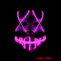 Weihnachten Cosplay Decor Rosa EL Kalten Licht Maske Urlaub Beleuchtung Kreative Schädel Creepy Neon Led Flackern Maske durch 3 V konverter