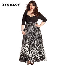 ECOBROS 2017 New Big size 6XL Fat MM Woman Summer Dress square collar Loose printing long dresses plus size women clothing 6xl