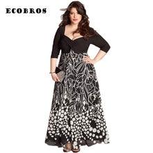 Ecobros Новинка 2017 года Большие размеры 6XL жира мм женщина Летнее платье квадратный воротник свободно печати Длинные платья большие размеры женская одежда 6XL