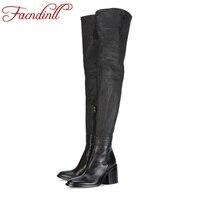 FACNDINLL Женские ботинки новые модные натуральная кожа Обувь на высоком каблуке черного цвета с круглым носком женская обувь выше колена высок