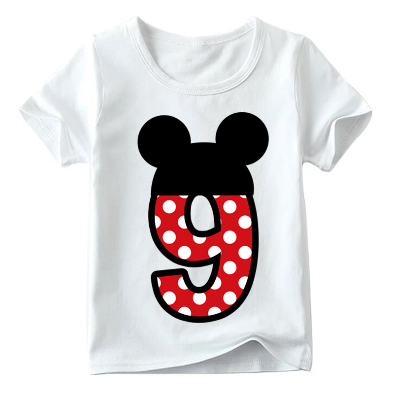Baby Boys/Girls Happy Birthday Letter Bow Cute Print Clothes Children Funny T shirt,Kids Number 1-9 Birthday Present,HKP2416 24