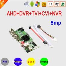 8MP 4K 8 Kanaals H265 + 8CH/4CH Xmeye Coaxiale 6 In 1 Audio H.265 + Gezicht Detecteren hybrid Coaxiale Wifi Ahd Dvr Moederbord