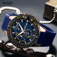 MEGIR heren Chronograaf Quartz Horloges 2019 Nieuwe Militaire Sport Horloge Top Merk Lichtgevende Relogios Masculino Klok 2095 Blauw