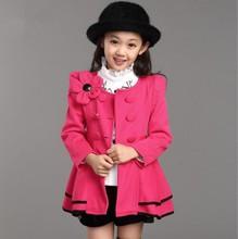 CNJiaYun Spring Autumn Girls Coat Long Style Shoulder Flower Jacket Children Windbreaker Outerwear Full Sleeve Kids Clothing