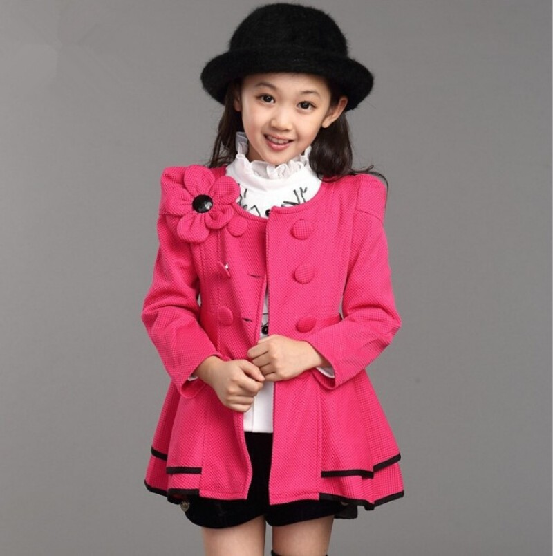 CNJiaYun Spring Autumn Girls Coat Long Style Shoulder Flower Jacket Children Windbreaker Outerwear Full Sleeve Kids Clothing