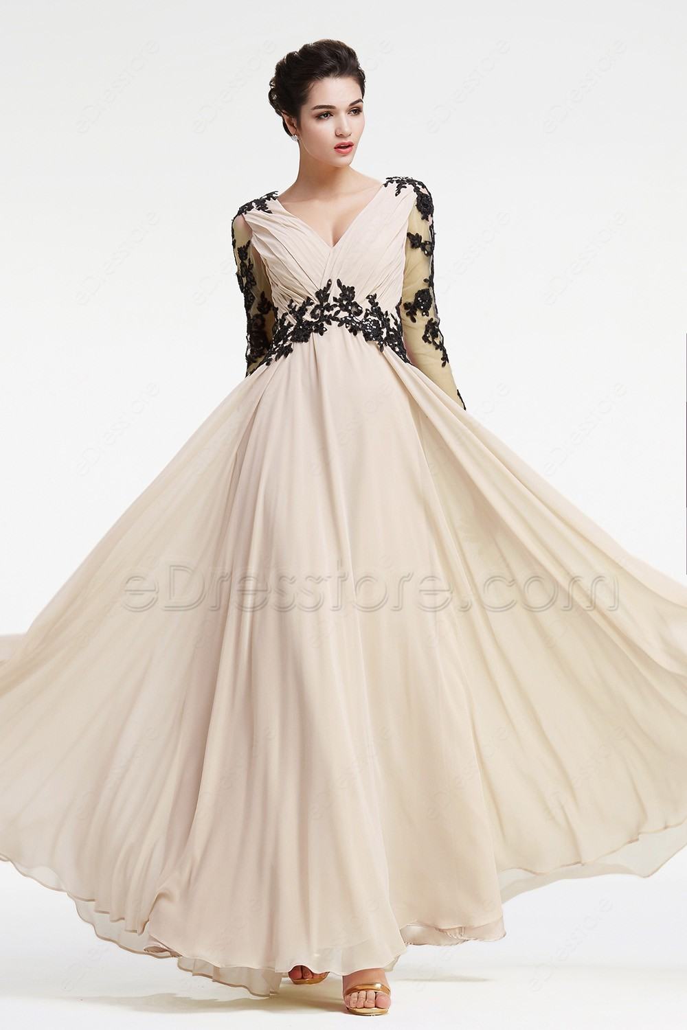 2017 new champagne long chiffon modest bridesmaid dresses 34 2017 new champagne long chiffon modest bridesmaid dresses 34 sleeves v neck black lace a line beach bridesmaid gowns country in bridesmaid dresses from ombrellifo Gallery