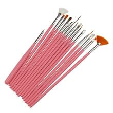15Pcs/Set Pink White Nail Art UV Gel Polish Painting Brush Pens Builder Design Decorations Dotting Cleaning Brushes Diy Tools