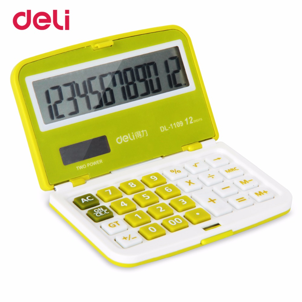Deli 12 Digit Solar Folding Mini Ultrathin calculator Dual Power Supply Office Electroni ...