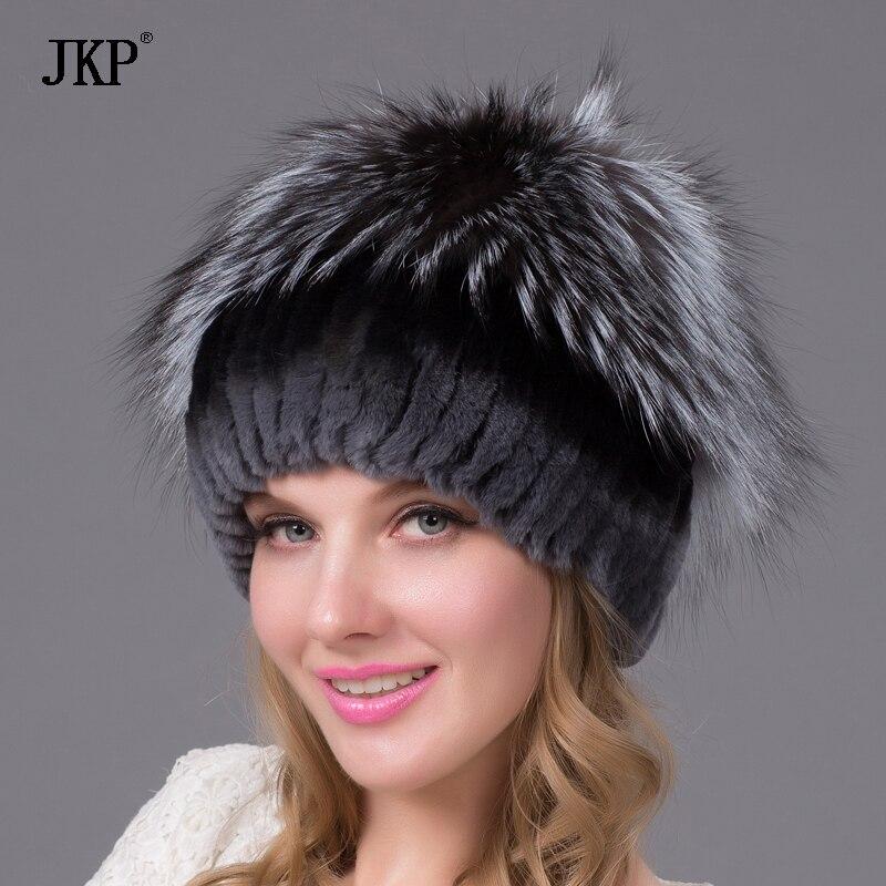 Nouvelle bonne qualité cap Hiver Rex lapin chapeau de fourrure pour les  femmes avec fourrure de renard tricoté bonnets chapeau de fourrure dec904414d4