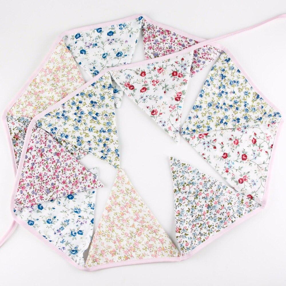 12 banderas 3.2 M retro algodón de la flor fresca Telas Bunting ...