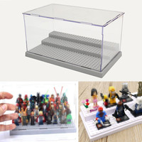 New 3 Steps Display Case Box Dustproof ShowCase Gray Base For LEGO Blocks Acrylic Plastic Display