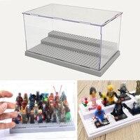 New 3 Steps Display Case Box Dustproof ShowCase Gray Base For LEGO Blocks Acrylic Plastic Display