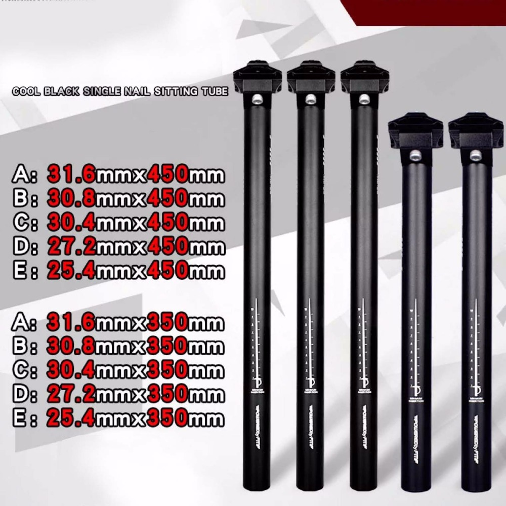 Bicycle Seatpost Aluminum Alloy Black MTB Road Bike Parts 25.4/27.2/28.6/30.4/30.8/31.6*350/450mm Seat Post