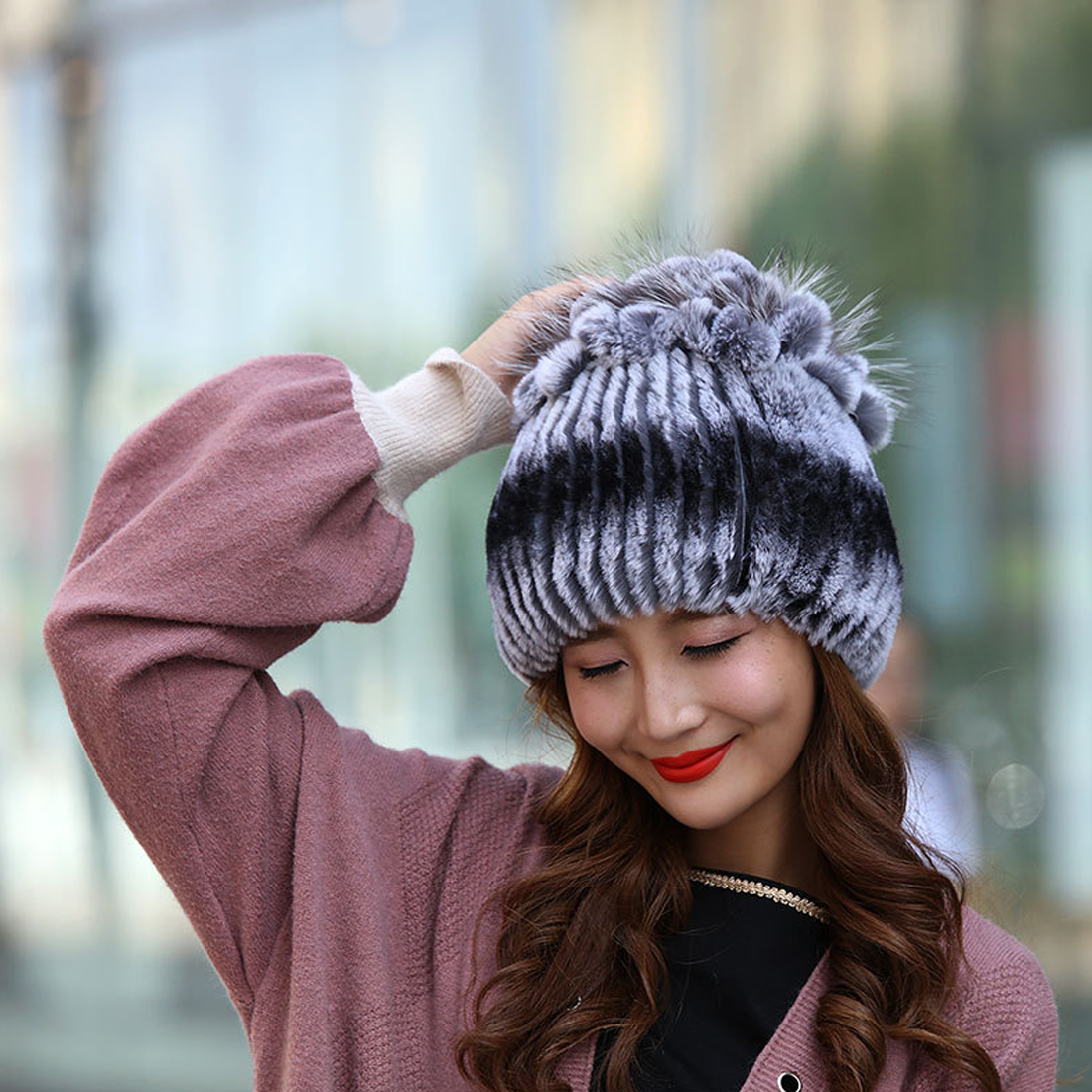 Hot Winter   Beanies   For Women Real Rex Rabbit Fur Hats With Fur Flower Trims Natural Rabbit Fur Caps