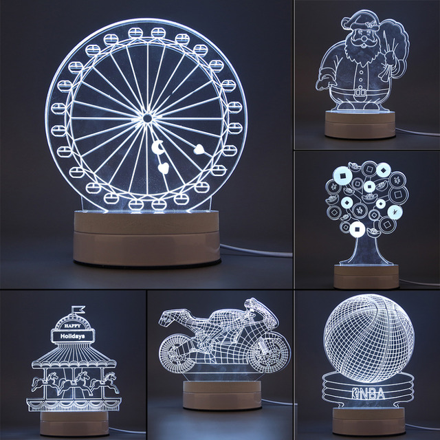 Hot Sale Magical Optical Illusion 3D Luminous USB Optical Illusion LED Night Light Desk Table Lamp Various shape Decorative Lamp
