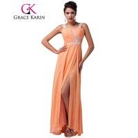 Grace karin dài orange voan prom dresses 2017 ruched sweetheart dài đảng prom dress trang phục chính thức gowns robe de soiree longue
