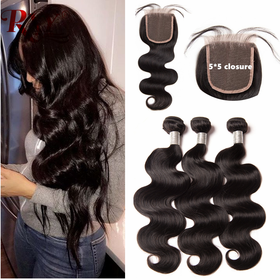 RXY 5x5 Lace Closure With Bundles Body Wave Brazilian Hair Weave Bundles With Closure 100 Human