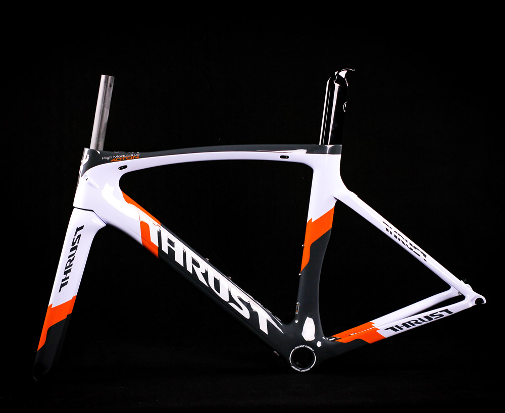 THRUST High Quality Carbon Road Frame China Carbon Frame with Fork Headset seat Post Clamp Road Bike Frame 2017 newest 1 1 disc road bike frame 4 sizes for disc carbon frame ultra light frame fork seat post headset bb adapter thru axel