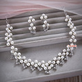 bridal jewelry sets neckalce earrings Pearl necklaces earrings wedding accessories pearl jewelry wedding prom jewelry
