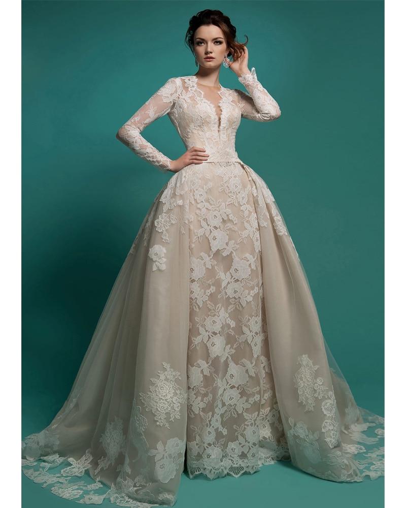 Champagne Lace Wedding Gown: Vestido De Noiva Vintage Lace Bridal Gown Sexy Long