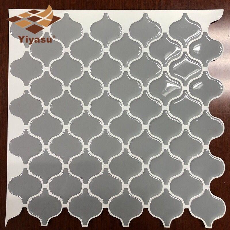 Grey Arabesque Moroccan Tile Self Adhesive Backsplash 3D Mosaic Tile Wall Sticker Vinyl Bathroom Kitchen Home Decor DIY