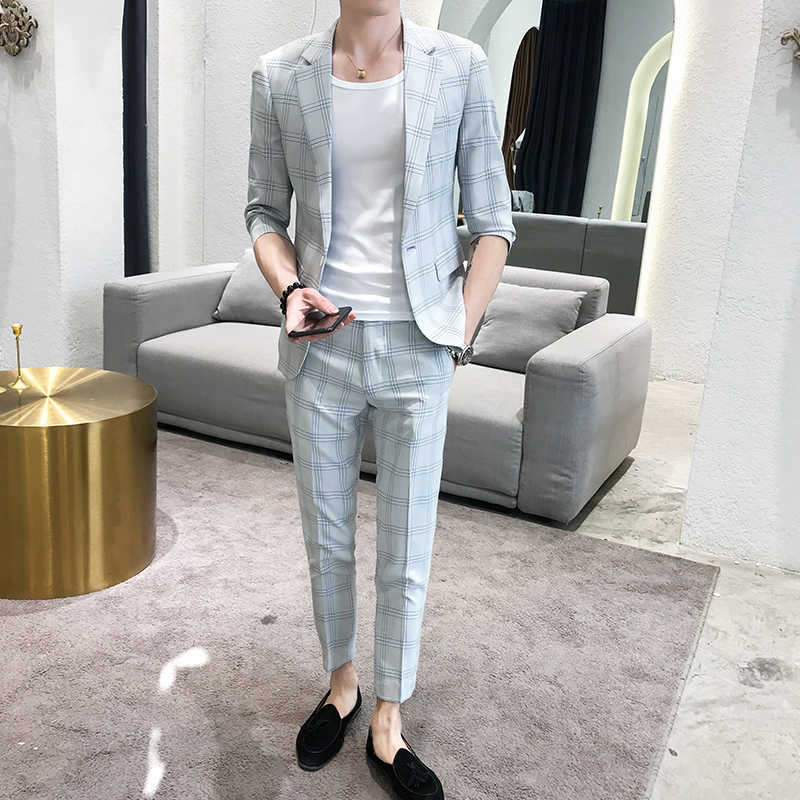 custom 2019 Spring and summer new mid-sleeved suit set male Korean version slimming seven-point sleeve