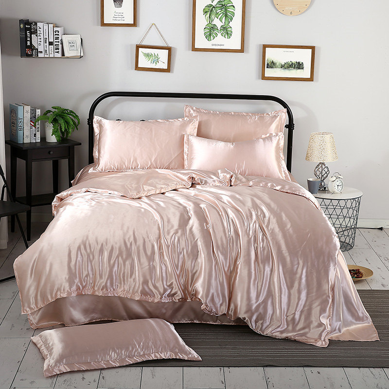 1Pcs Duvet Cover Solid Color Satin Silk Single Double Queen King Quilt Cover Advanced Home Hotel Bed Soft Qualified Comfortable