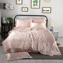 1Pcs Duvet cover Solid color satin silk Single Double Queen King Quilt Cover Advanced Home Hotel Bed Soft Qualified Comfortable(China)