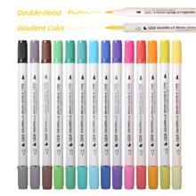 Sta 14 pcs 28 색 그라디언트 색상 듀얼 팁 브러시 마커 물 기반 잉크 레터링 서예 펜 그림을위한 색칠하기 책