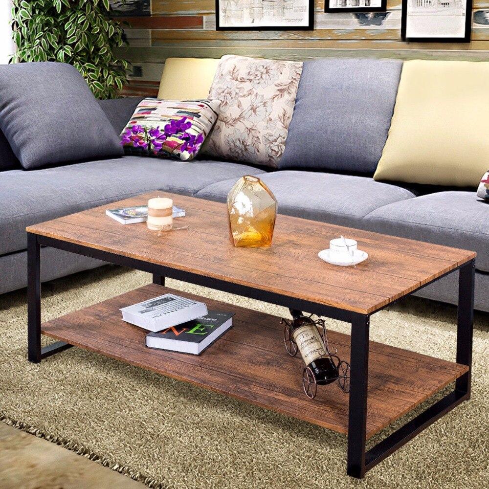 Giantex cadre en métal Rectangle Table basse Accent Table de Cocktail meubles de salon meubles de salon HW57395