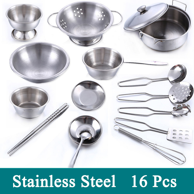 Hot 1Set 16 Pcs Pretend Play Toy Stainless Steel Children Toy Miniature Cooking Set Simulation Playhouse Tableware New Year Gift