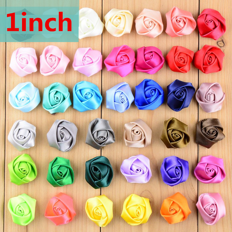 50pcs/lot 39 Color U Pick 1 Inch Mini Rolled Satin Ribbon Rosettes Flowers DIY Wedding Bouquet Hair Accessories TH212 30pcs lot 28 color u pick handmade 3 chiffon rolled rosette boutique hair flowers diy girls hair accessories fh28