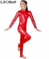 LZCMsoft Kids Long Sleeve Metallic Unitards Stirrups Dance Gymnastics Leotards Girls Shiny Dancewear Stage Performance Show