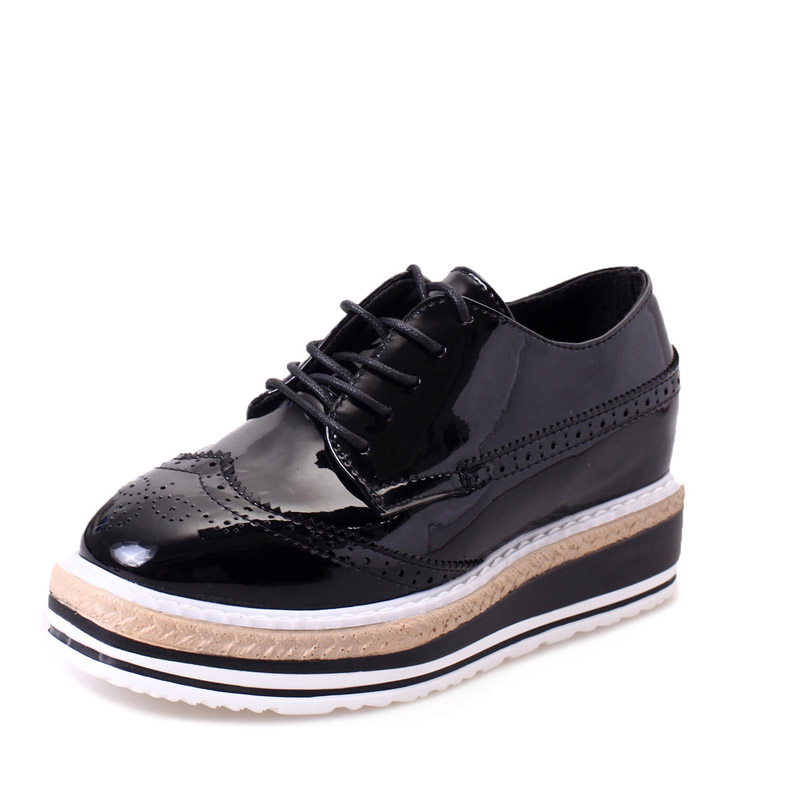 HEE GRAND Patent Leather Women Oxfords Platform Shoes Woman ...