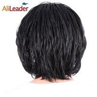 AliLeader Ürün Mikro Örgülü Peruk Siyah Kadınlar Için Kısa Saç siyah Afrika Peruk Yan Patlama Ile Bob Tarzı Günlük Için kullanım