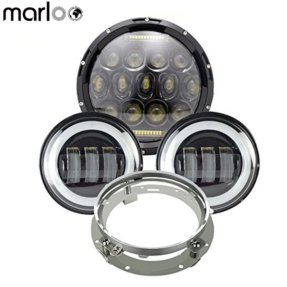 Marloo DOT Approved 7 75W Round LED Headlight & 2pcs 4.5 Passing Lamps with White DRL for Harley Davidson Motorcycle Touring for harley moto harley davidson softail touring 7 led headlight 75w light drl hight power with 4 5 passing fog light lamp