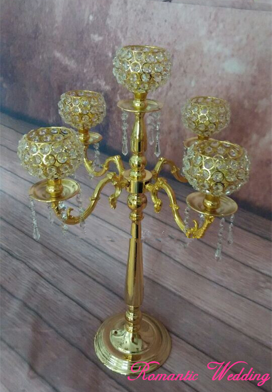 4PCS/lot On Sale Wedding Candelabras with 5 Carving Arms Metal Crystal Candle Balls for Wedding party event decoration-30 tall