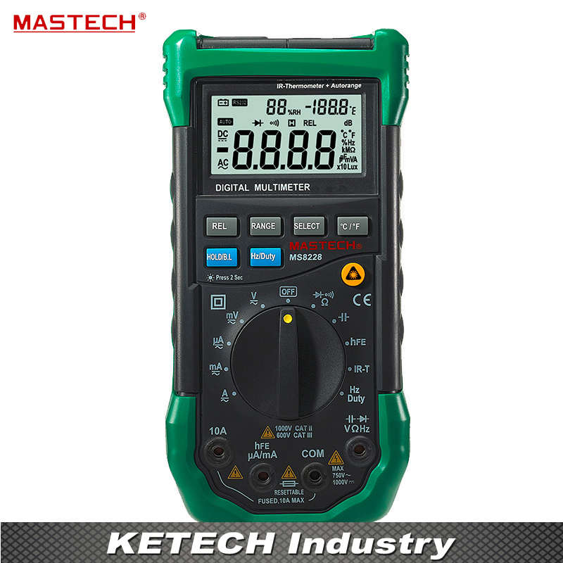 MASTECH MS8228 Auto Range 4000 Counts Digital Multimeter Multifunctional Infrared Thermometer Environmental Hygrometer Meter 1 pcs mastech ms8269 digital auto ranging multimeter dmm test capacitance frequency worldwide store