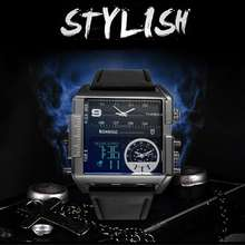 New style BOAMIGO Men Sports Watches 3 Time Zone Leather Rec
