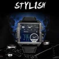 Nieuwe Stijl Boamigo Mannen Sport Horloges 3 Time Zone Lederen Rechthoek Mannelijke Klok Digitale Pols Jongens Horloges-in Digitale Klokken van Horloges op
